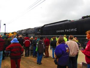 Hundreds gathered at the Union Pacific Depot in downtown Cheyenne to view the 4014 Nathan Heffel KUNC