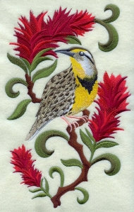 Do you know the name of Wyoming's state bird and flower? Go to the State Gifts Website to find out ( image is from the Embroidery Library website)