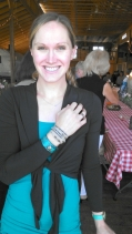 Her Mom brought her one of Rawhide Studio's turquoise cuff bracelets and she was so happy with it she had to put it on right there and then! The cuff paired nicely with the wrap bracelet she was already wearing and her outfit.